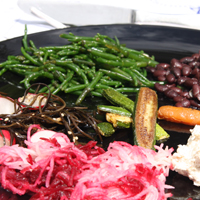 A variety of summer sallad foods on a plate